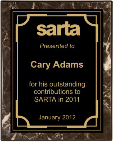 Brown Roman Marble Finish Piano Plaque Engraved