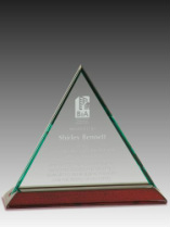 Triangle Jade Glass Award Trophy