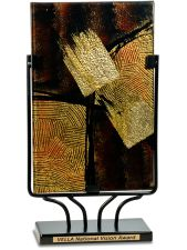 AGS34 Brown Rectangular Art Glass Award