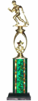 Single Column Green Baseball Trophy