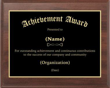 Achievement Award 2 Award Plaque Custom Award