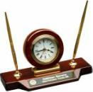 T154  Rosewood Piano Finish Desk Clock on Base with 2 Pens
