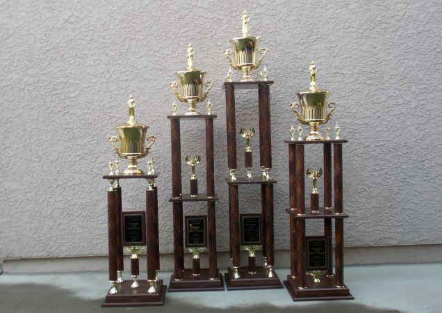 4 column Trophies with wood columns