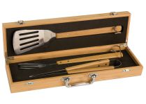 BBQ02 Bamboo BBQ Gift Set Custom Engraved