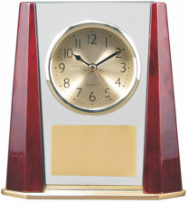 T138 Rosewood Piano Finish Clock w/Beveled Columns