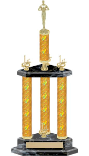 3 Column Gold Victory Trophy