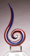 GLSC1 Red Blue Swirl Art Glass Sculpture