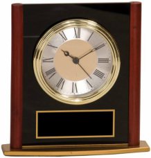 MF002 Square Arch  Clock Black Glass and Mahogany Finish Wood