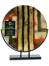 AGS41 Round Stripes Art Glass with Metal Base Award