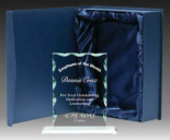 Rectangle scalloped Glass Trophy Award Includes Gift Box