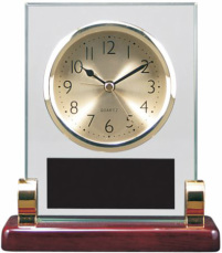 T136Rectangle  Rosewood Piano Finish and Metal Clock With Post