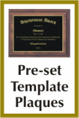 Preset Template Plaques Awards