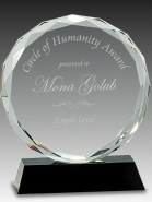 Round Faceted Crystal Trophy Award Black Base